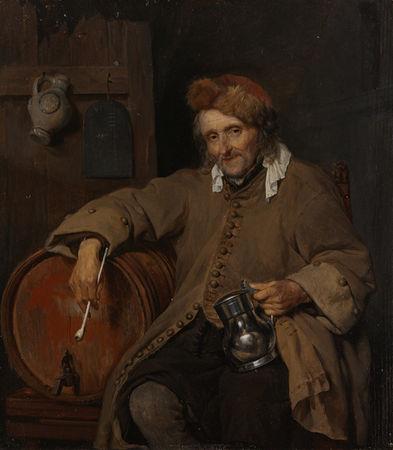 Metsu_Gabriel_Un_vieil_homme_tenant_une_pipe_et_une_chope__1661_63