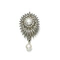Natural pearl and diamond brooch, late 19th century