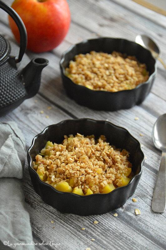 crumble de pommes vapeur vitaliseur vegan sans beurre sans sucre flocons avoine sans gluten