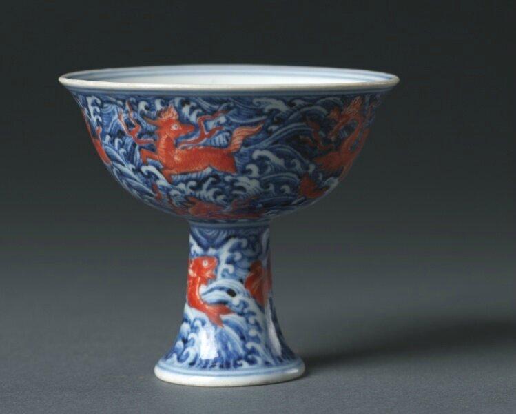 Stem Cup, 1426-1435, China, Jiangxi province, Jingdezhen , Ming dynasty (1368-1644), Xuande mark and period (1426-1435)
