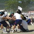 Compétition pour les filles. Chaque équipe doit ramener le plus de pneus de son côté