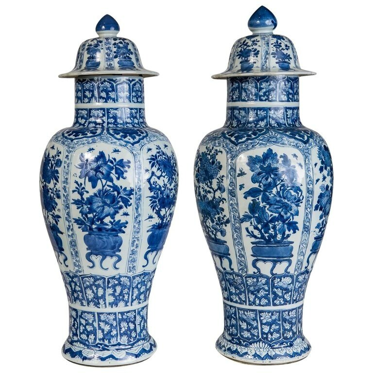 A Pair of Exceptional Chinese Qianlong Blue and White Vases Painted in Brilliant Sapphire Blue