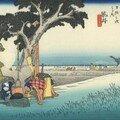 Hiroshige - 27e relais - Fukuroi - La maison de thé de plein air