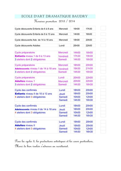 Horaires ateliers 2013 2014