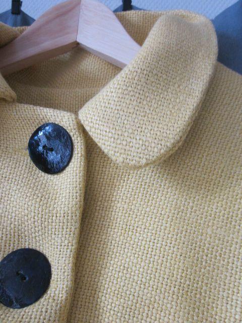 Manteau d'été bicolore en lin jaune et marine (8)
