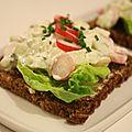 Smørrebrød (tartine danoise) radis, concombre, fromage frais & ciboulette