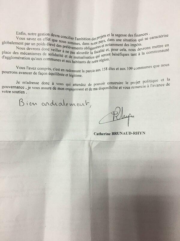 communiqué de presse Catherine Brunaud Rhyn candidature communauté agglomération Mont-Saint-Michel Normandie 2017 2