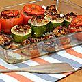 Légumes farcis au veau et à la mozzarella