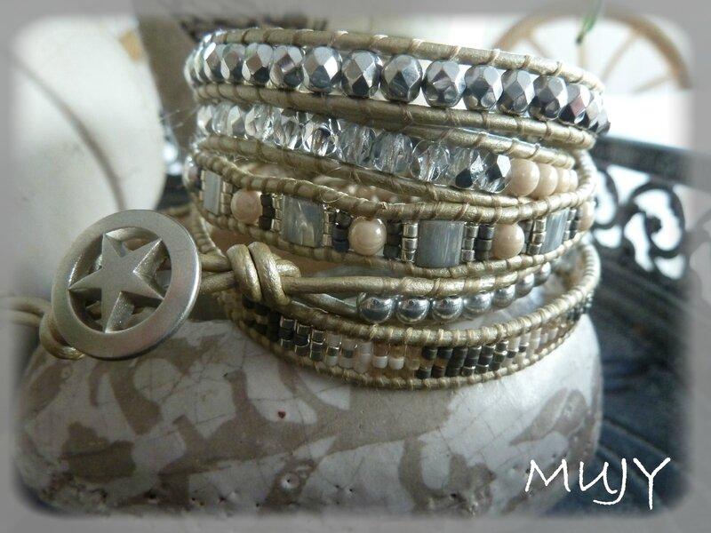 bracelet Wrap argenté 5 tours détail