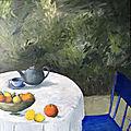 chaise bleue et citrons 80/80 huile/toile