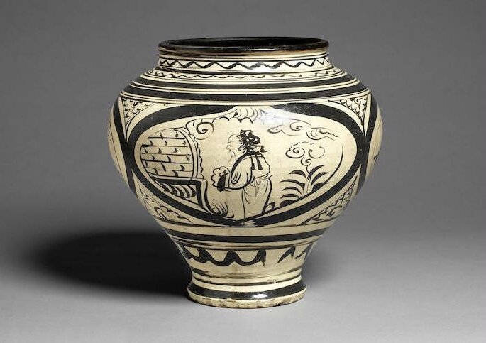A Cizhou painted baluster jar, Yuan Dynasty