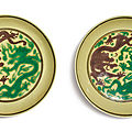A pair of green and aubergine-enameled yellow-ground 'dragon' dishes, kangxi marks and period (1662-1722)