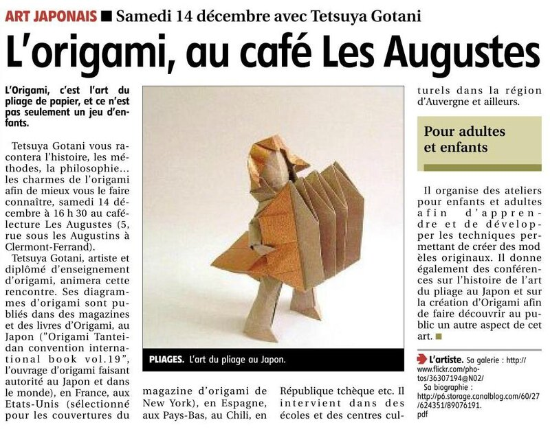 article journal La Montagne 10122013 causerie origami
