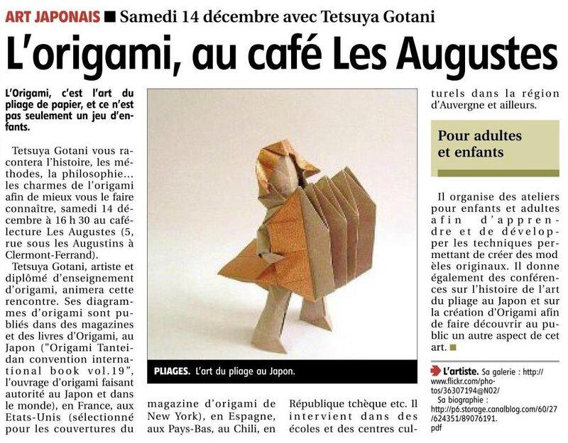 article journal La Montagne 10122013 causerie origami