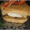 Complicité bretonne et malgache du foie gras et de la crevette, panure de pain d'épice