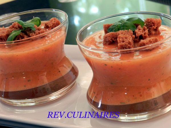 Gaspacho de nectarines, pain d' épice et basilic