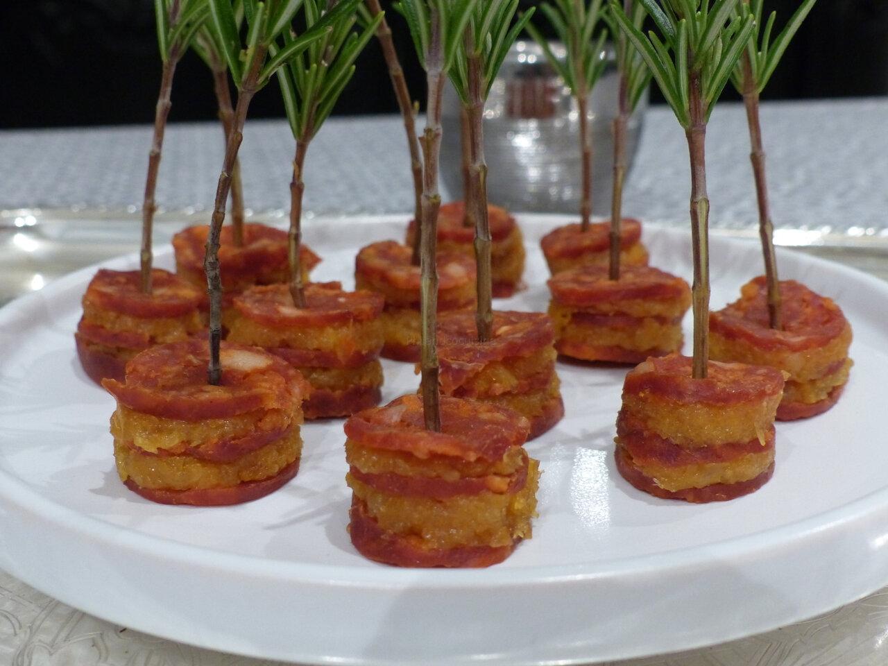 Mille-feuilles de chorizo à l'abricot sec