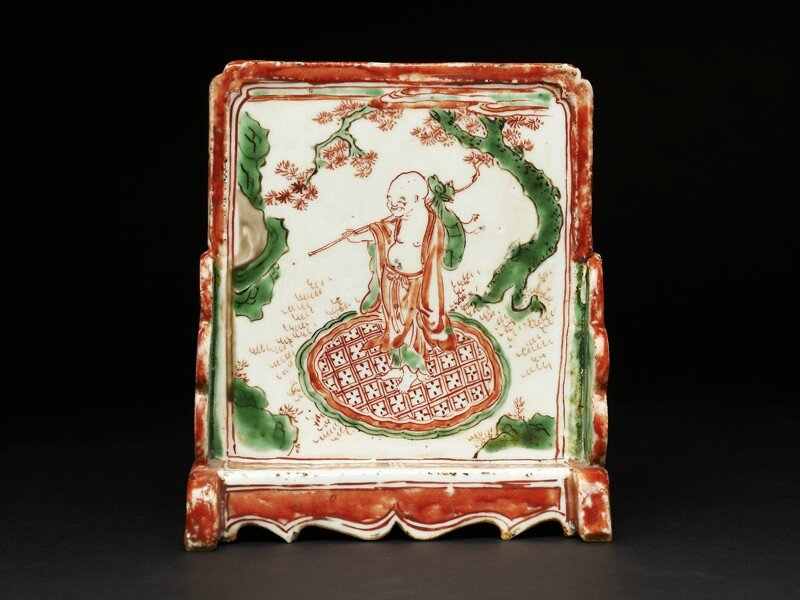 Brush stand depicting a man under a tree, Transition period, 1620 - 1640