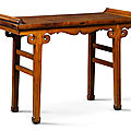 A ming-style 'huanghuali' and mixed wood recessed-leg low table, qing dynasty