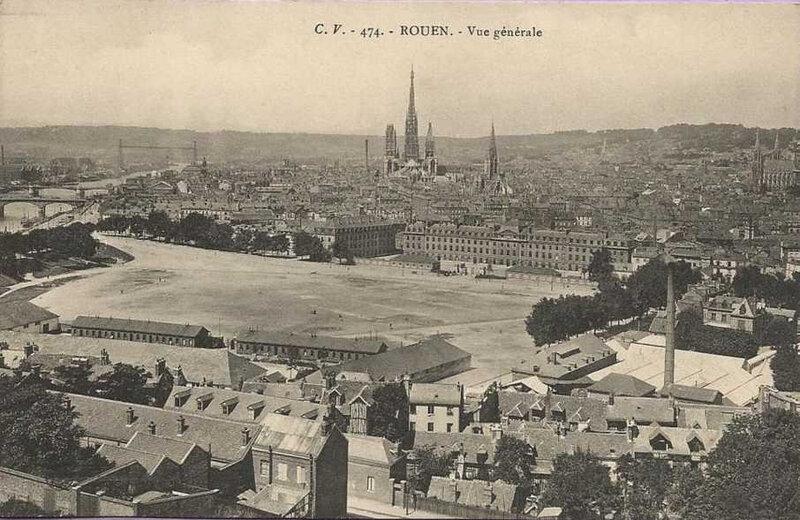 Rouen, Vue générale, carte postale CV ed