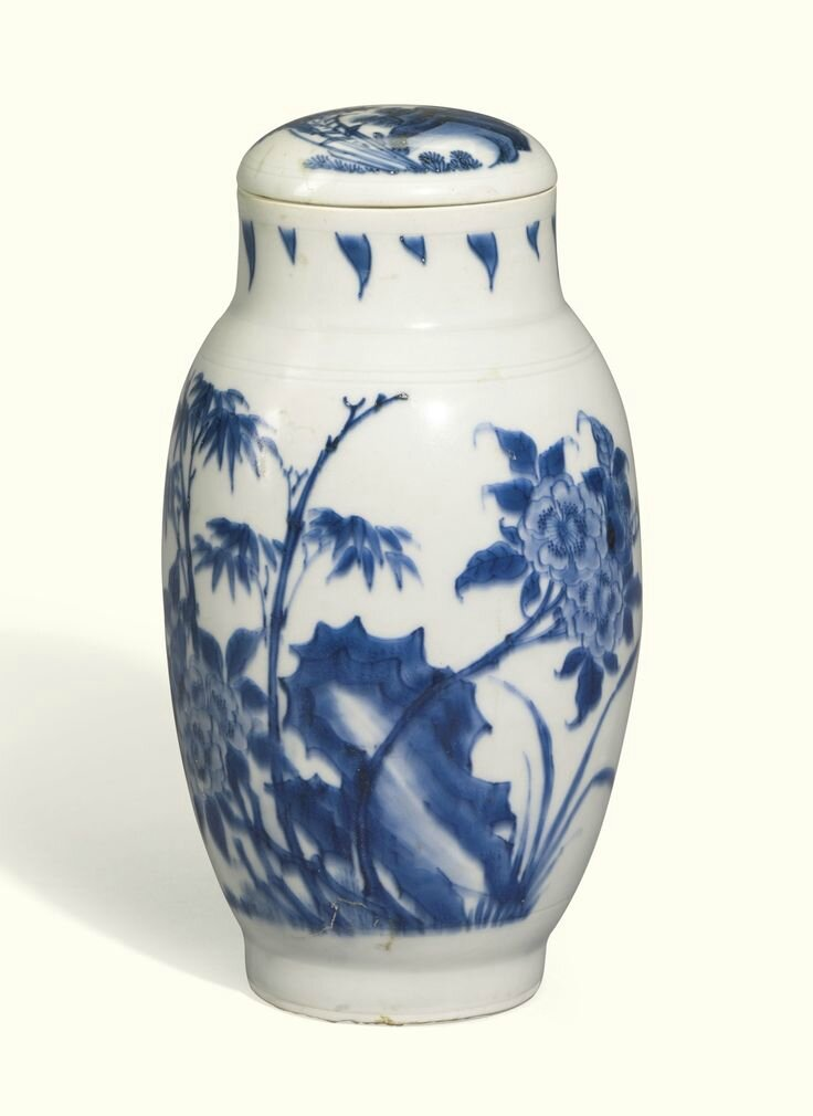 A blue and white slender ovoid jar and cover, Ming dynasty, Chenghua period