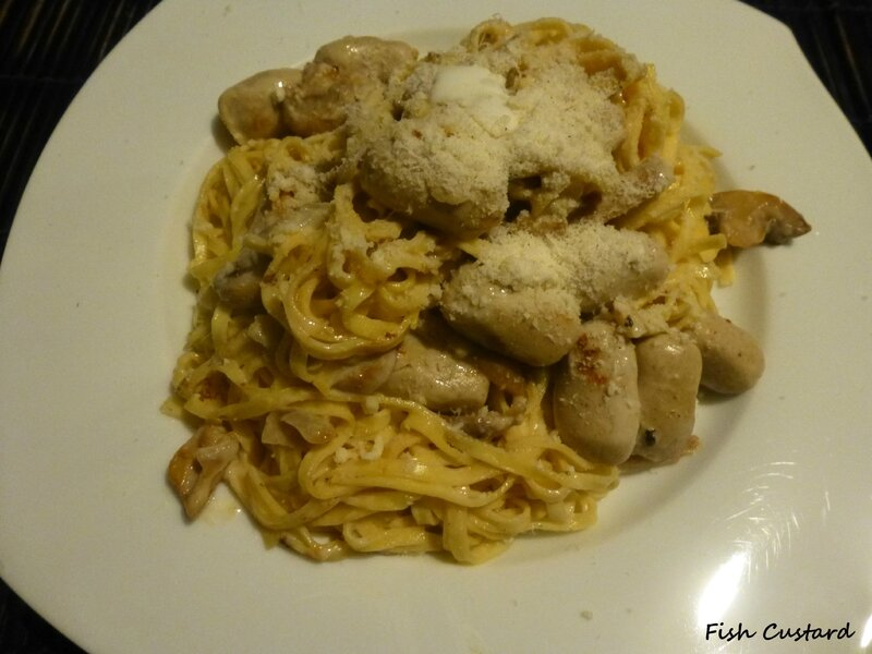 Linguine aux boudins blancs et champignons (2)
