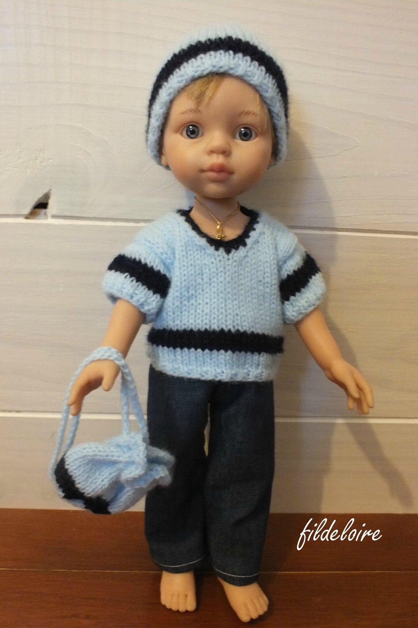 boutons 3 dos pantalon par bonnet VENDU sac dans des tricoté ensemble garçon élastique et tricoté pour pull baluchon taille fermé le marin rSzrqg