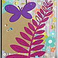 carte de voeux avec fougere, papillon et chat