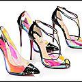 Escarpins debout disco - sandales tiny disco - pochette riviera clutch sideral - christian louboutin