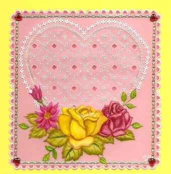 carte coeur pour l'anniversaire de mon chéri (romantic roses du livre Exclusive Créations) 10-2012