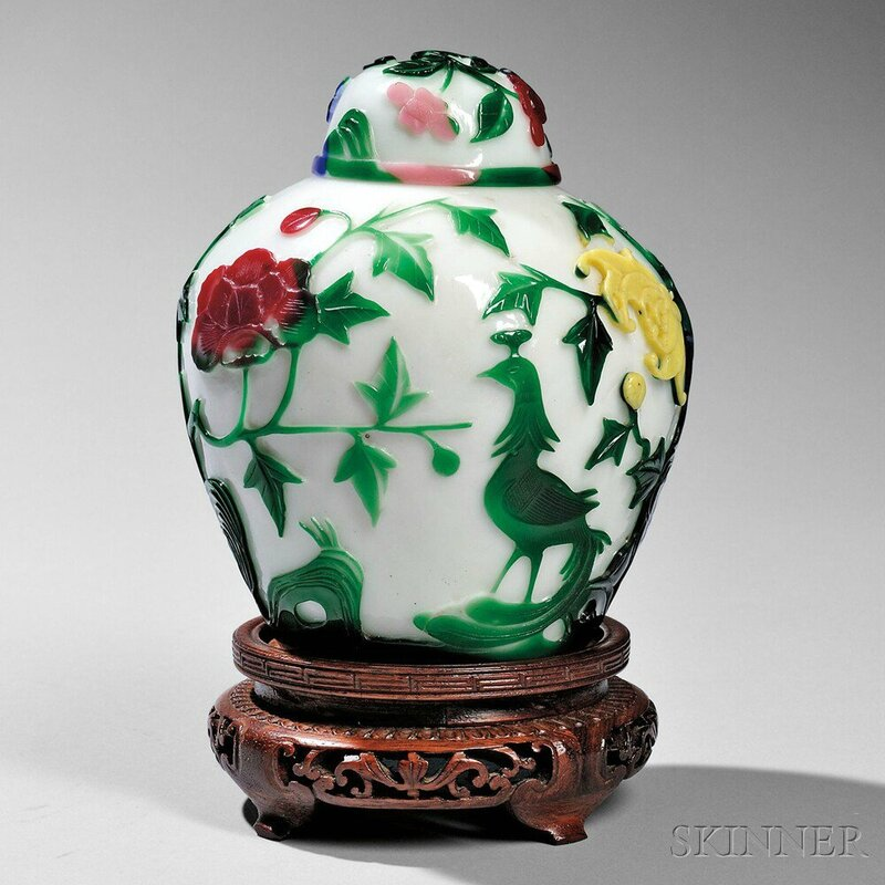 Six-color Overlay Peking Glass Covered Jar, China, 18th-19th century