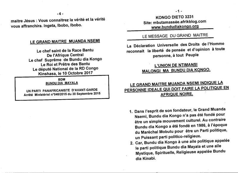 LE GRAND MAITRE MUANDA NSEMI INDIQUE LA PERSONNE IDEALE QUI DOIT FAIRE LA POLITIQUE EN AFRIQUE NOIRE a
