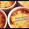 Soupe oignons/crozets gratinée au cantal