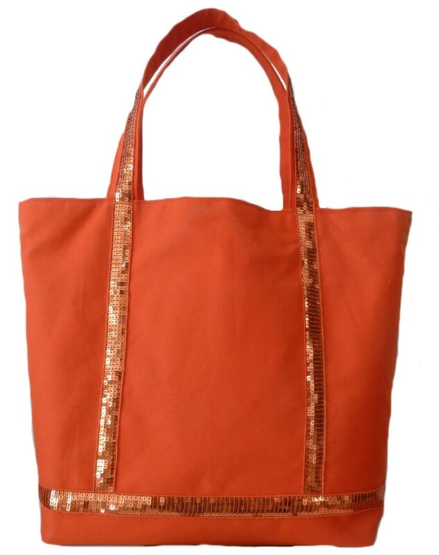 sac orange paillettes