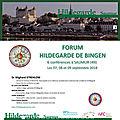 Forum hildegarde de bingen, em saumur, na frança / 7, 8 e 9 de setembro 2018