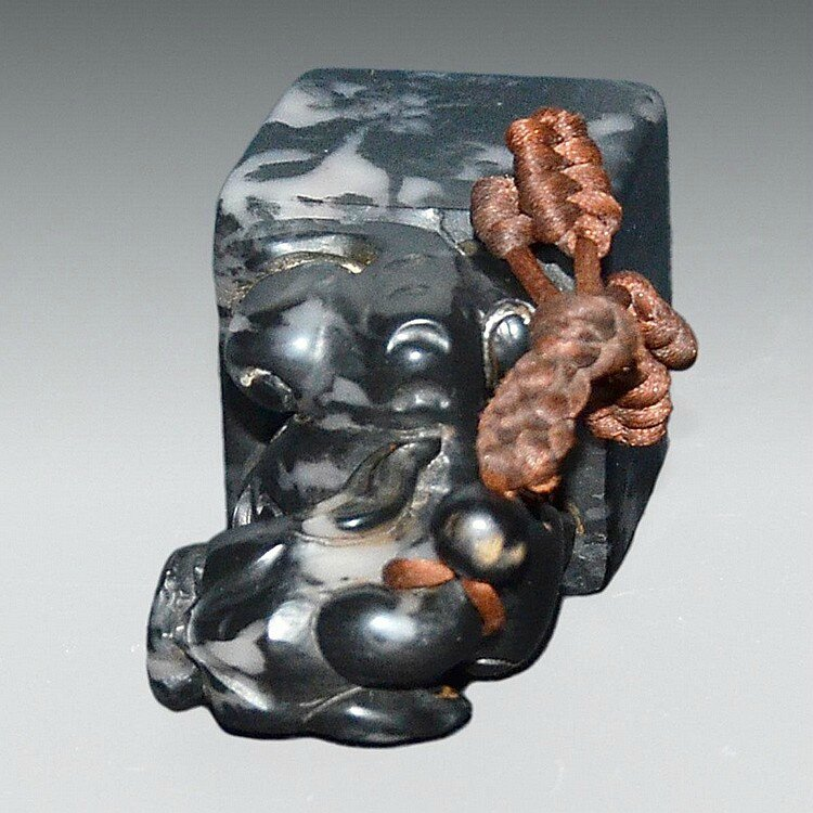 A Dark Shoushan Stone Seal with Carved Bixie As Knob3