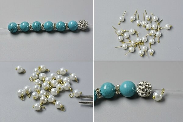 How to Make a Simple Beaded Bracelet with Turquoise Beads and Pearl Beads 3