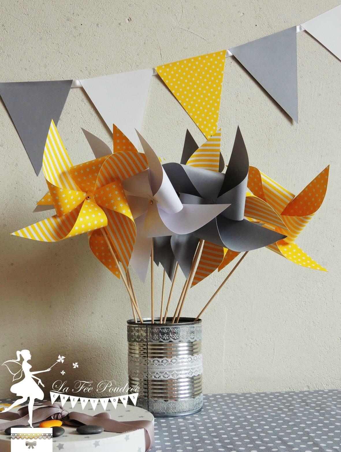 moulin a vent gris jaune blanc decoration mariage bapteme baby shower anniversaire
