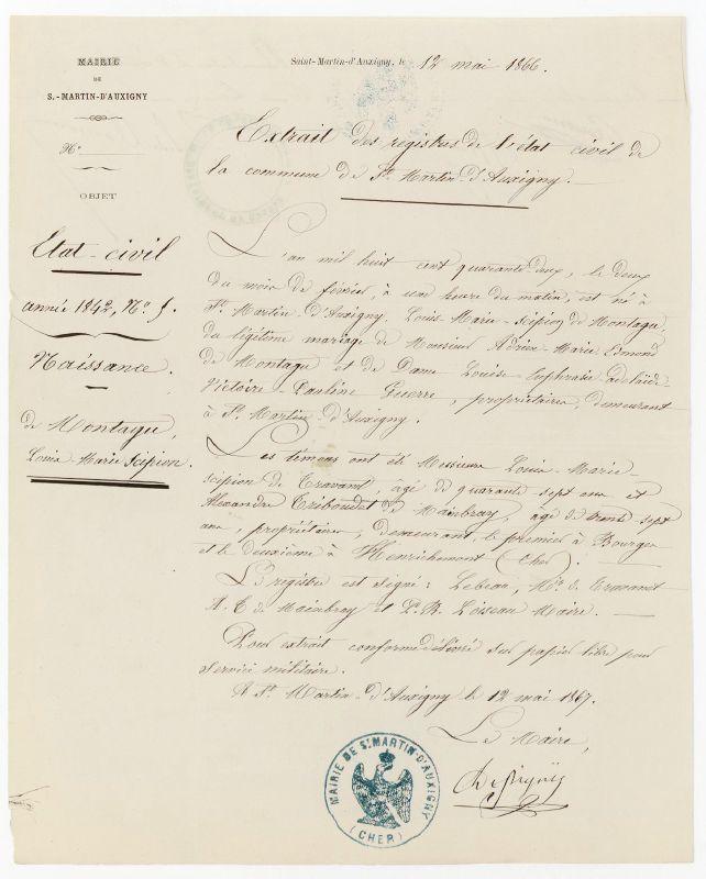 Montagu Louis Marie Scipion_Acte Naissance