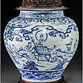 A large and rare chinese blue and white porcelain windswept jar, guan, ming dynasty, 15th century