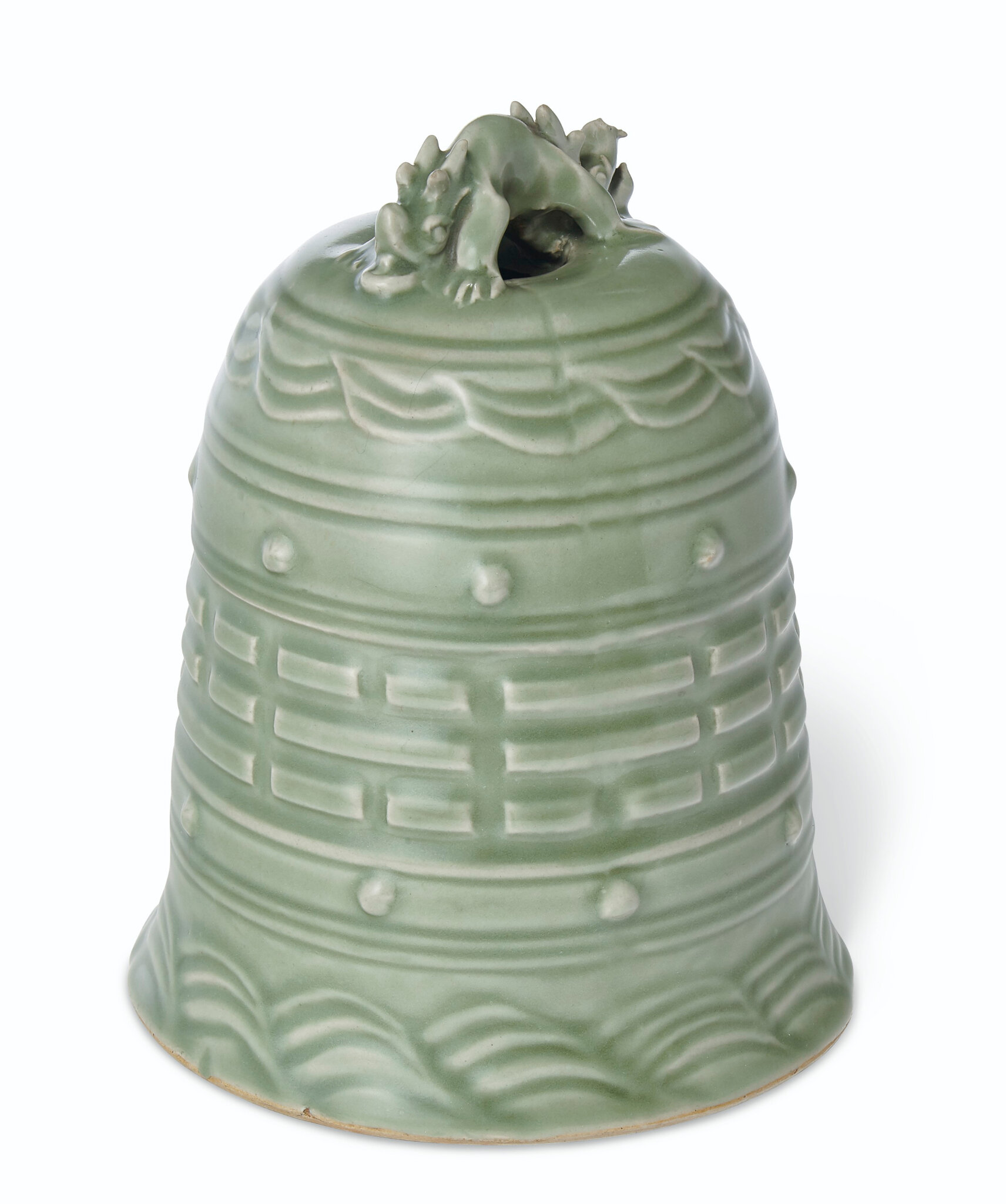 An unusual Longquan celadon bell, Yuan-Ming dynasty or later