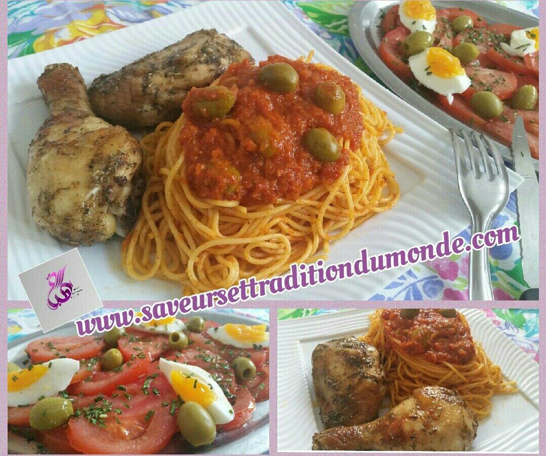 Spaghetti au poulet et sauce tomate