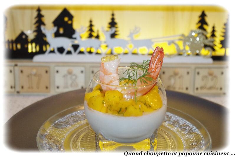 panna cotta salée , crevettes et dés de mangue-5320