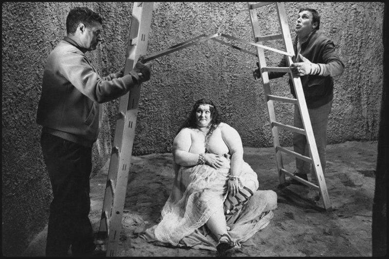 An Extra and Crew Members on the Set of Fellini's Satyricon Rome Italy 1969