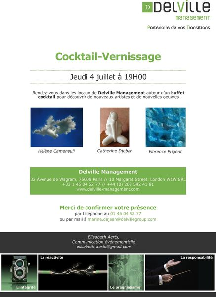 Invitation Cocktail Vernissage - Jeudi 4 juillet à 19h00 - Delville Management
