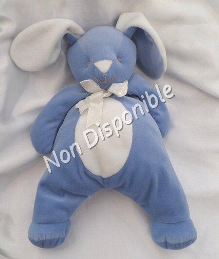 Doudou Peluche Lapin Bleu Et Blanc Noeud Bengy