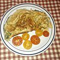 Omelette à la ciboulette, mozzarella et jambon de pays