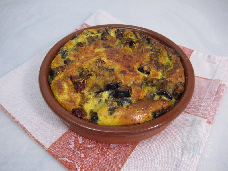 Clafoutis aubergine chorizo grana padano