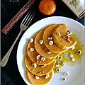 Salade de courge butternut, vinaigrette a la mandarine-curcuma-poivre rose & noisettes