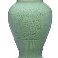 A carved Longquan celadon vase, late Yuan-early Ming dynasty, mid-14th-early 15th century